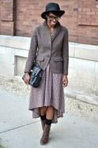 dark brown thrifted boots - black fedora thrifted hat