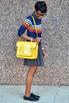 yellow VJ Style bag - black Tropical Wear dress - blue Fervour top