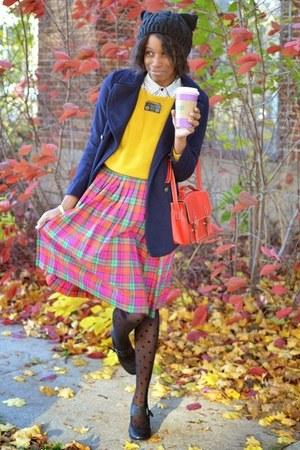 yellow thrifted sweater - navy JollyChic coat