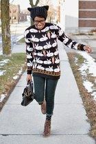 black rabbit print TrendyFine sweater - dark brown thrifted boots