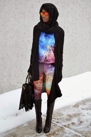 light purple romwe galaxy thrifted leggings - black chicnova bag