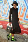 Black-thrifted-boots-black-thrifted-dress-black-fedora-thrifted-hat