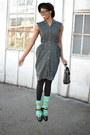 Black-polka-dot-shirt-thrifted-vintage-dress