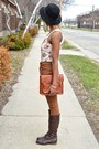 Dark-brown-thrifted-boots-army-green-knitted-dove-coat-brown-levis-jeans