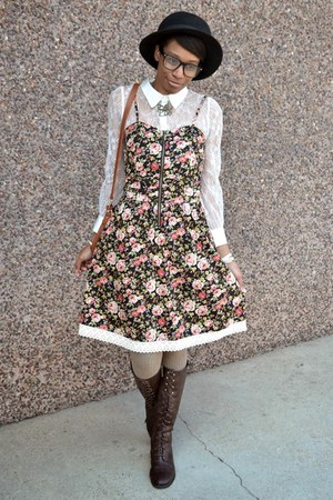 dark brown thrifted boots - light pink Tulle dress - black fedora thrifted hat