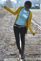 yellow Look Basic cardigan - black Bamboo boots - black skinny thrifted jeans