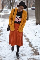 mustard thrifted vintage cardigan - black UrbanOG boots