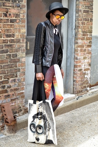 black thrifted boots - white thrifted dress - black TIL Darling jacket
