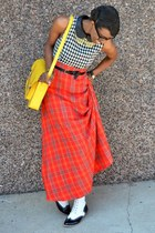 red plaid maxi Kersh skirt - white Wanted Shoes boots - white monteau dress