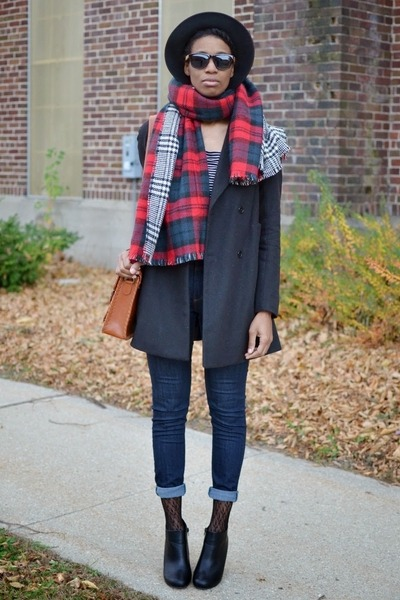 black glossy ankle UrbanOG boots - black JollyChic coat - brick red OASAP scarf