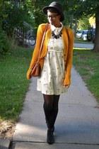 black UrbanOG boots - cream mushroom print thrifted dress