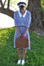Navy-vintage-dress-brown-picnic-basket-thrifted-bag