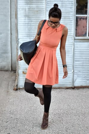 black asos tights - dark brown thrifted boots - peach box pleat thrifted dress