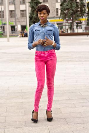 cropp town shirt - Bershka jeans - Centro heels - Incity ring - cropp town watch