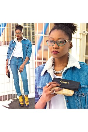 firmoo glasses - new look jeans - Levis jacket - Boohoo heels