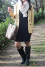 Light-yellow-zara-blazer-dark-brown-lowrys-farm-boots-navy-dorothe-bis-dress