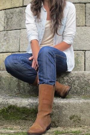 burnt orange Morgan de Toi boots - blue BLANCO jeans - sky blue pull&bear shirt