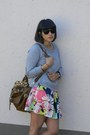 Floral-forever-21-skirt-leopard-forever-new-bag-wayfarer-ray-ban-sunglasses