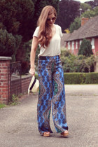 navy paisley print Zara pants - beige straw fedora TK Maxx hat