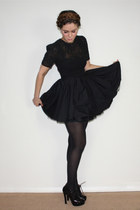 black sheer top Jones and Jones dress - black brogues heels Stylist Pick shoes