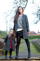 black biker unisa boots - charcoal gray contrast sleeve Nelly coat