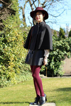 charcoal gray wool BCBG cape - maroon full brim Target hat - cream Uniqlo shirt