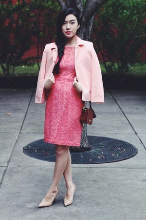 pink eShakti dress - bubble gum Zara jacket - brown coach purse