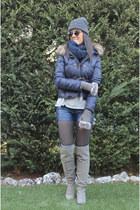 Stradivarius boots - Zara coat - Stradivarius shorts