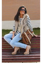 Zara sweater - Uterque bag - BLANCO pants - Zara vest - Zara heels