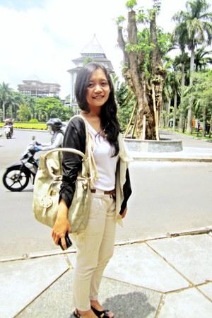leather Miu Miu bag - black cardigan - wedges - pants - top