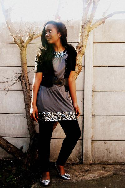 black H&M cardigan - gray Express dress - black Marks and Spencers leggings - si
