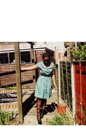 green Atmosphere dress - black H&M accessories - Marks and Spencers stockings -