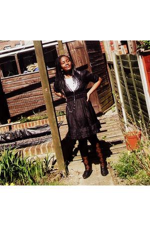 black Miss Selfridges dress - white Primark shirt - gray Accessorize necklace -