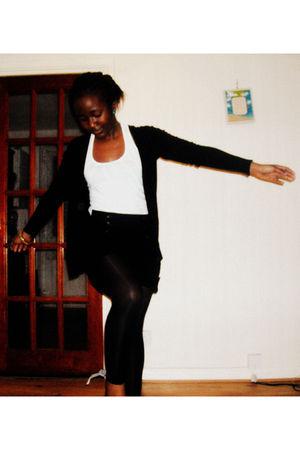 black Primark cardigan - white Miss Selfridges top - Primark shorts - Bershka st