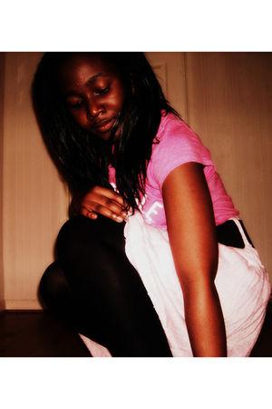 pink Aeropostale shirt - black mk one belt - pink Primark skirt - white Zaif sho