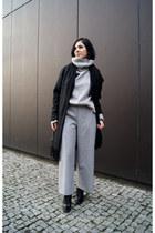 black Zara shoes - black Backstage coat - silver OASAP sweater