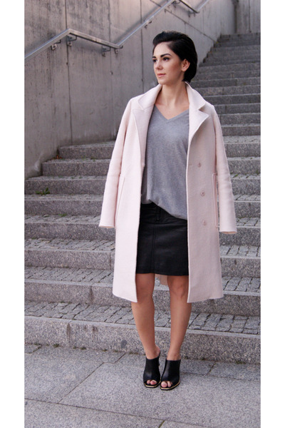 light pink OASAP coat - black mules Front Row Shop shoes - silver Zara cardigan