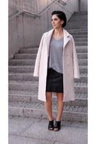 light pink OASAP coat - black mules Front Row Shop shoes - silver Zara cardigan
