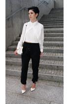 white sammydress shirt - white Zara bag - black Zara pants