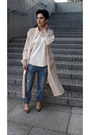Cream-trench-coat-front-row-shop-coat-turquoise-blue-zara-jeans