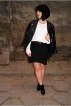 black Zara shoes - black leather H&M Trend jacket - white Cubus sweater