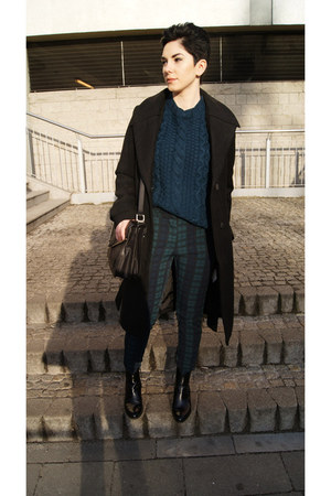 dark green OASAP sweater - black Zara boots - black reserved coat