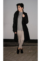 white Choies blouse - black Bershka shoes - black reserved coat