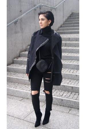 black suede Centro shoes - navy Choies coat - black turtleneck Zara sweater
