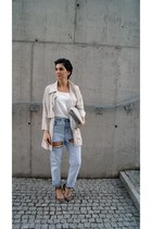 beige Stradivarius jacket - silver lunch bag Choies bag - white cami Choies top
