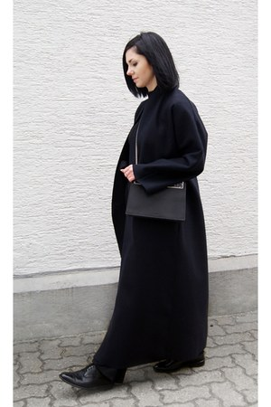 black Cafune bag - navy Mango coat - black Zara pants - black Cluse watch
