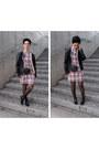 Black-bershka-boots-white-plaid-choies-dress-tan-leather-zara-jacket