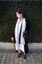black Zara shoes - white Marie Hell dress - black Sheinside coat