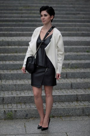 black Zara bag - white lindex jacket - black leather Choies top