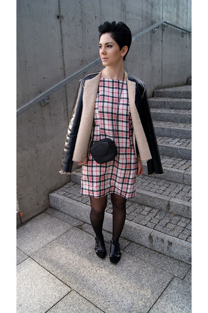 tan leather Zara jacket - black Bershka boots - white plaid Choies dress